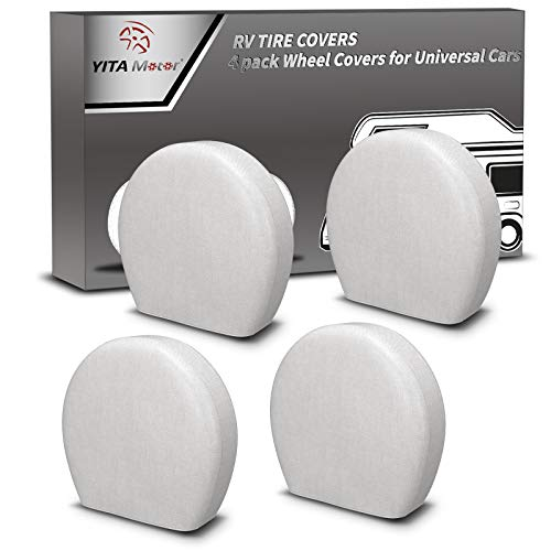 YITAMOTOR Tire Covers,Set of 4 Premium 600D Oxford Motorhome RV Wheel Covers,100% Waterproof PU Coating Tire Protectors,Universal Tire Covers,Fits 32'- 34.5' Tire Diameters