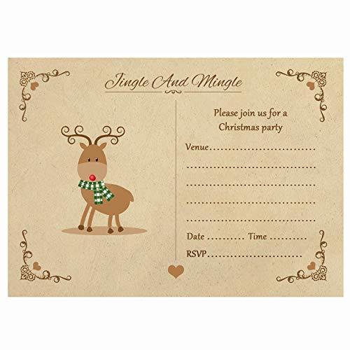 Artstore Vintage Reindeer Christmas Party Invitations With Brown Kraft Envelopes - Pack of 20