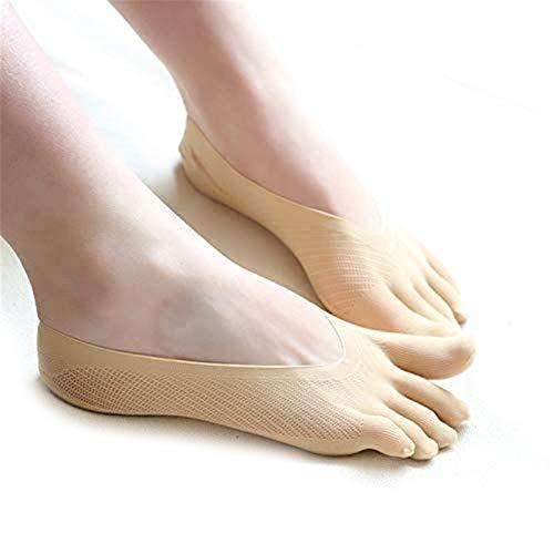 Auccrtya Calcetines con Dedos Separados para Mujeres, Calcetines de compresión ortopédica, Calcetines con Forro de Corte bajo con lengüeta de Gel, Suaves y Transpirables para niñas y Mujeres (Beige)