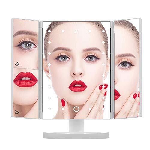 Espelho de maquiagem DIOZO com luzes, espelho de maquiagem de 21 LEDs, espelho iluminado com interruptor de tela sensível ao toque, rotação de 180 graus, fonte de alimentação dupla, espelho triplo branco portátil