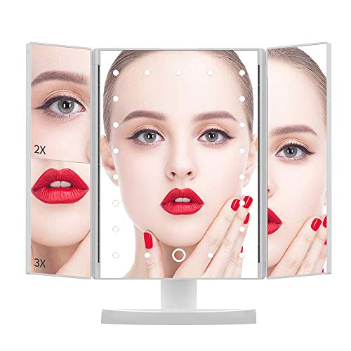 Makeup Mirror with Lights, DIOZO Makeup 21 LED Vanity Mirror, Lighted Up Mirror with Touch Screen Switch, 180 Degree Rotation, Dual Power Supply, Portable White Trifold Mirror