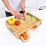 ChopZing PREMIUM Bamboo Cutting Board With Stackable Containers and Lids | MEAL PREP time saver | Large Cutting Board Set great for STORAGE | Quick and Easy Cleanup and Transportation