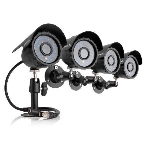 Zmodo Überwachungskamera Kit 600TVL Wetterfest Bullet Sicherheitskamera Kit mit 24m Nachtsicht