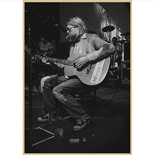danyangshop Impresión En Lienzo Vintage Poster Nirvana Kurt Cobain Dormitorio Rock Orchestra Pintura Decorativa Poster Retro Poster A300 (40X60Cm) Sin Marco