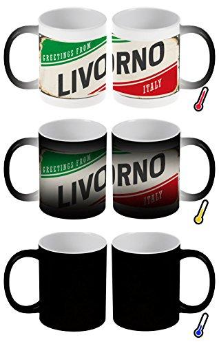 LEotiE SINCE 2004 Zaubertasse Farbwechseltasse Kaffeebecher Tasse Becher Latte Cappuccino Espresso Reisen Küche Livorno Italien