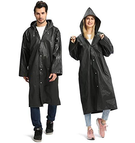 Opret Regenponcho für Erwachsene, Wiederverwendbarer Wasserdichter Regenmantel mit Kapuze und Ärmeln, Eva Regencape-Regenbekleidung-2 Stück
