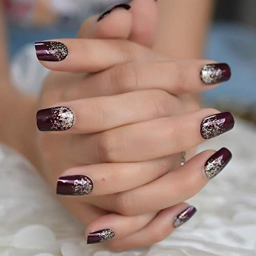CSCH Faux ongles Brun Glitter Brillant Nail Artificiel Chocolat Carré Brillant Pré-dessiné Faux Ongle Lisse Mode Acrylique Nail