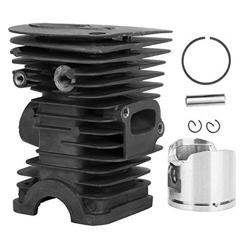Conjunto de cilindro de 42 mm, kit de cilindro de pistón de motosierra compatible con Husqvarna 345, kit de válvula de descompresión de anillo de pistón de cilindro plateado con pasador cilíndrico, an
