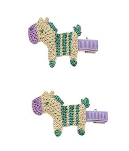 2 paires de bande cheval jaune attractif à la main en laine en épingle à cheveux