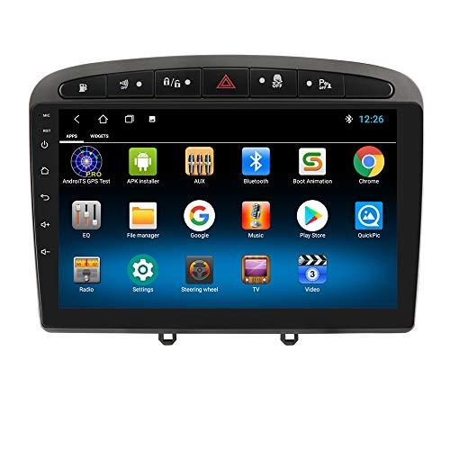 hizpo Autoradio Bluetooth Vivavoce Compatibile con PEUGEOT 308 308S 408 DAB Autoradio 1+16GB WiFi 4G GPS Ricevitore Radio Link Specchi Telecamera Posteriore Controllo del Volante DAB+/FM/USB Grigio