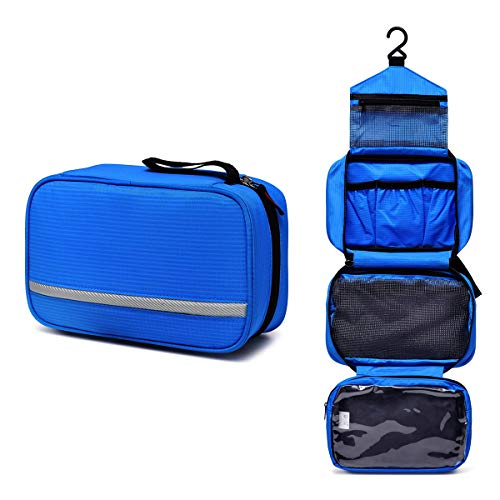 Toiletry Bag, VASCHY Water Resistant Large Hanging Travel Toiletry Kit Shaving Bag Portable Wash Bag for Men, Women, Blue