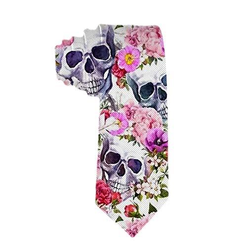 Cráneo de hombre con una guirnalda Corbata Corbata de poliéster Corbatas de jacquard Regalo de novedad para hombre