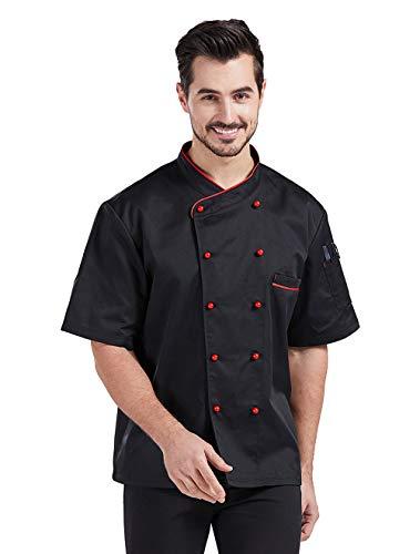 Nanxson Giacca da Chef Manica Corta Giacca da Cuoco Ristorante Divisa da Cuoco per Uomo Donna CFM0048 (Nero Rosso, M)