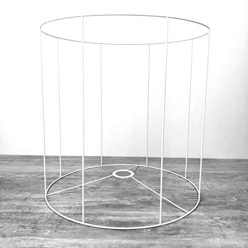 Lealoo - Estructura Redonda Blanca para Pantalla de día, Altura y diámetro 35 cm, diámetro: Casquillo E27, 38 mm.