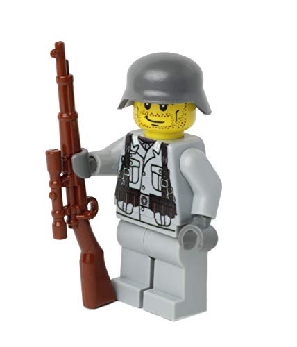 WW2 WWII Custom Soldado Alemán con BrickArms Sniper Kar98, Estampada