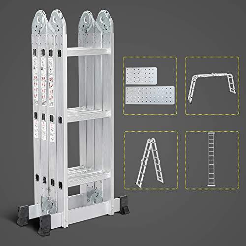 Todeco Escalera de Aluminio Multifuncional 3.5m, Escalera Plegable con 2 Plataforma de Hierro, 4x3 Escaleras Escamoteables Carga Máxima 150kg, 12 Peldaños Escalera Telescópica