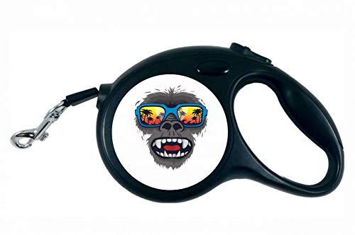 Druckerlebnis24 Rollleine - AFFE Gorilla Tropisch Sonnenbrille - 5M Hundeleine Nylon Ergonomischem rutschfest-Griff Einziehbar