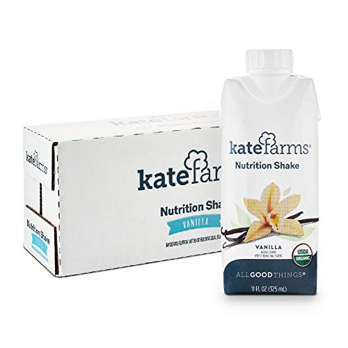 Kate Farms Organic Vanilla Nutrition Shake Plant-Based, Delicious, Vegan Adult Meal Replacement Shake, With 16g of Pea Protein, No Dairy, Soy, Gluten, 11 Ounces (Case of 12)