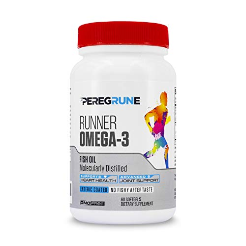 PEREGRUNE Runner Omega-3 Fish Oil Supplement | EPA & DHA | Heart Health & Joint Support for Runners and Athletes | Burpless | Third Party Tested for Athletes | 60 - Softgels