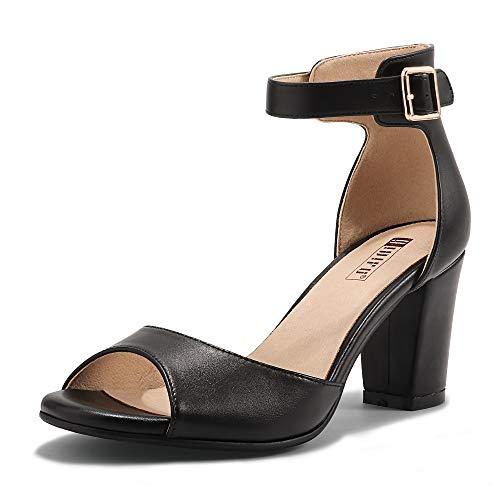 IDIFU Women's Candie-MI Peep Toe Low Block Heels Sandals Ankle Strap Comfy Chunky Wedding Dress Shoes (Black Pu, 9.5 M US)
