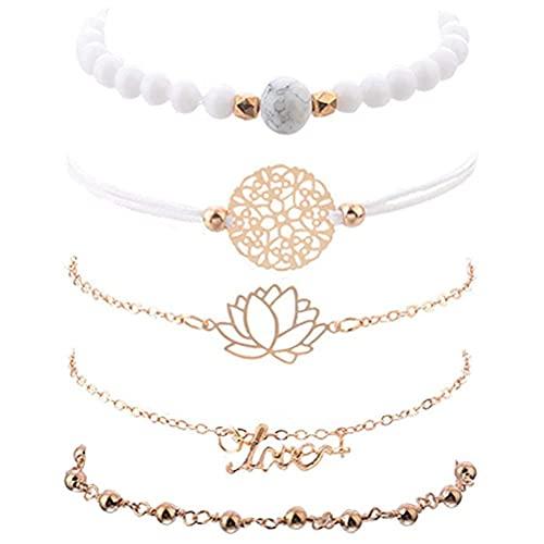 CeFoney Conjunto de pulseras en capas conjunto de pulseras de cuentas para mujer, pulsera apilable, gemelos, cadenas de mano, hebilla oculta, regalo de 5 piezas