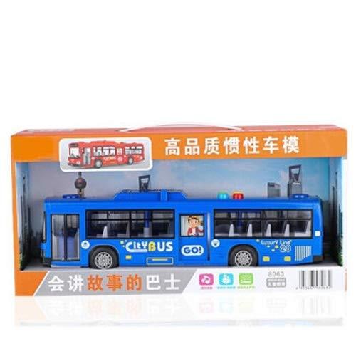 Lihgfw Bus Spielzeug Auto Modell Baby Legierung Spielzeug Auto Bus Modell Baby Spielzeug 1-16 Jahre alte Geschichte Bus [Inertia Fahren + leichte und soundeffekt] (Color : Blau)