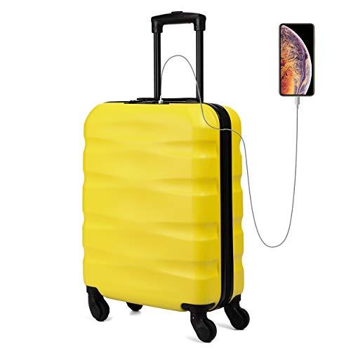 Toctoto 55x40x20cm Maximum Size Carry On Hand Cabin Luggage Suitcase,Valigia Rigida da Viaggio con Porta di Ricarica USB,Bagaglio a Mano Unisex con Lucchetto TSA(55cm-31.5L) (Giallo)