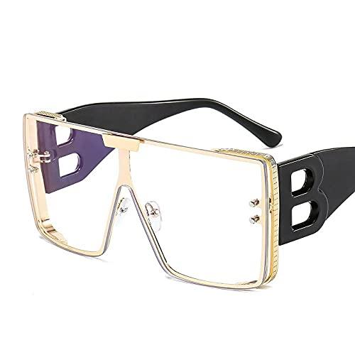 WQZYY&ASDCD Gafas de Sol Gafas De Sol De Montura Grande De Moda para Mujer, Gafas De Sol Cuadradas Retro De Lujo De Metal, Gafas De Sol Graduadas De Moda para Hombres, Lady-C7
