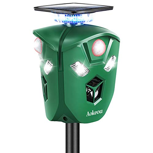 2020 Animal Repellent, Aokeou Tri-face Ultrasonic Pest Repeller with PIR Motion Sensor IP44 Waterproof Solar&USB Charging LED Flashlight Repel Deer/Cat/Dog/Bird/Fox in Garden Yard Farm
