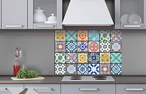 Küchenrückwand Verbundplatte AZULEJOS 60 x 40 cm   Spritzschutz Küche für Herd Spüle   Premium Qualität, Alu Dibond, Stärke 3 mm - Made in EU   Inklusive Kleber