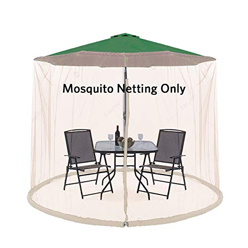 Easylee Outdoor Patio 9' Umbrella Cover Mosquito Netting Table Screen with Zippered Net Canopy Mesh, Height and Diameter Adjustable Fits 9FT Umbrellas, Beige