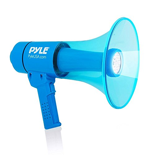 Waterproof Megaphone Bullhorn and Flashlight - Portable Compact 40W PA Includes Rechargeable Battery, Alarm Siren, Adjustable Volume, Handheld Lightweight Speaker, LED - Pyle PMP67WLTB, Black