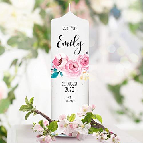 Taufkerze Junge oder Mädchen Blumen Blüte rosa rosé Baum weiße Kerze zur Taufe, Geburt Kommunion weiß 25 x 7 cm mit Name, Datum, ggf. Taufspruch / / Taufkerze 25 x 7 cm (eigener Taufspruch)
