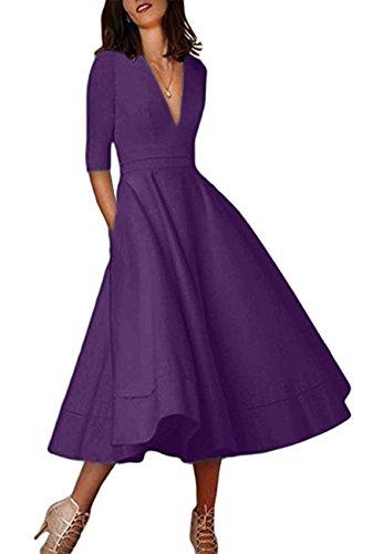 OMZIN Damen Kleid Grosse Größe Cocktailkleid Vintage Sommerkleid Retro Partykleid Violett XXXL