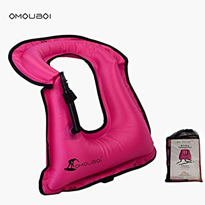 Life Jacket Adult Inflatable Swim Vest for Snorkeling by OMOUBOI Suitable for 80-220lbs