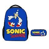 XINQIANG Mochila Sonic 2 unids/Set Nuevo Juego de Mochila Sonic Shadow de Dibujos Animados para niños niñas Adolescentes Mochila para portátil Chico Bandolera Estuche para lápices niños