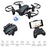 Bitzong Black Mini Pocket Portable Foldable Quadcopter Drone with 720P HD Camera Live