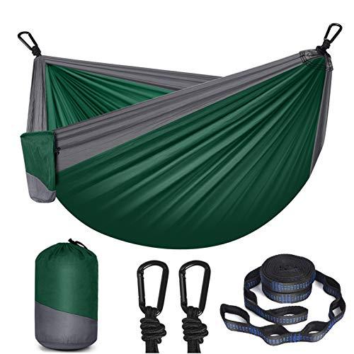HULOSAN Hammock Camping Hammock Double & Single, Portable Outdoor Hammock Nylon Parachute with 2 Tree Straps, 2 Carabiners for Camping,Travel,Beach,Backyard,Patio,Hiking