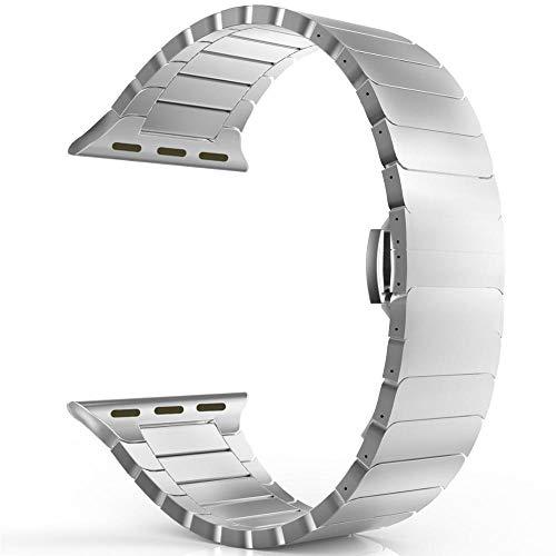 LINMAN Banda de Correa de Acero Inoxidable 44mm 40 mm 42mm / 38mm Pulsera de Metal de Mariposa, Compatible con el Reloj de Apple (Color : Silver, tamaño : 42mm or 44mm)