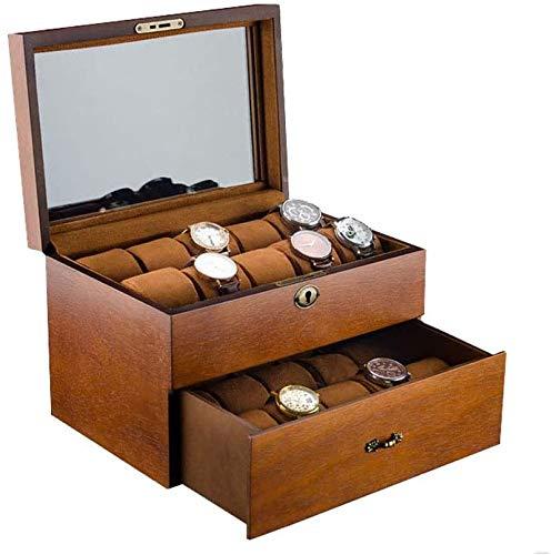 Caja de Reloj de Mesa de Madera Maciza portátil de Doble Capa 20 Caja de colección de Almacenamiento de Reloj mecánico de joyería