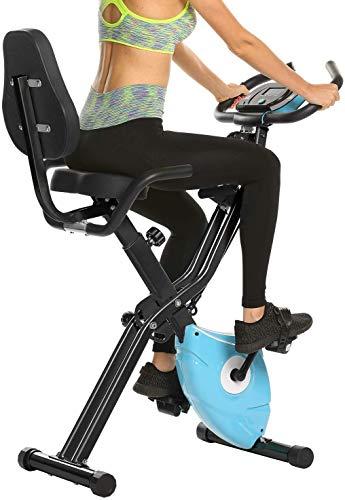 ANCHEER Cyclette Pieghevole da Fitness 10 Livelli di Resistenza Magnetica Sedile Ampio e Confortevole, Bicicletta per Esercizio da Interni Supporto per Tablet Monitor Digitale