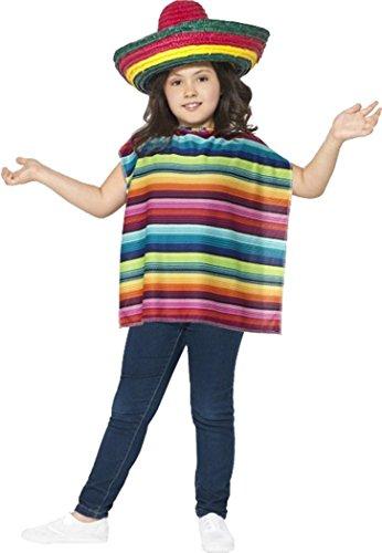 Smiffy's Kids Book Week Dag Fancy Feestjurk Mexicaanse Instant Kit (Poncho & Sombrero Hoed)
