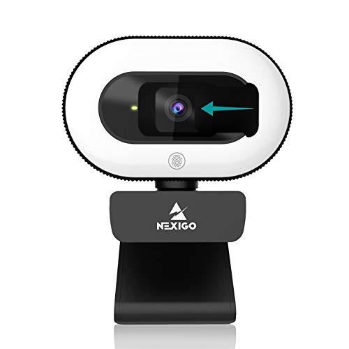 NexiGo StreamCam N930E mit Mikrofon, Ringlicht und Abdeckung