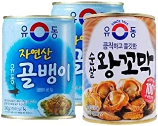 YooDong Canned Seafood Collection 3 Cans | 유동 골뱅이, 왕꼬막 3캔 모음, 1 Bai Top Shell (골뱅이) + 2Cockle(왕꼬막)