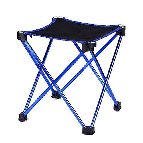AYGANG Taburete Plegable Plegable Ligero heces Viajar acampa de la Pesca Taburete Plegable con Mochila al Aire Libre Silla portátil con Bolsa de Transporte Ajustable (Color : Blue)