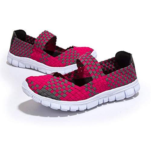 Art und Weise flocht Frauen beiläufige Ebene Elastikband Sommerschuhe weiche atmungsaktive Schuhe Leichte Tanzschuhe