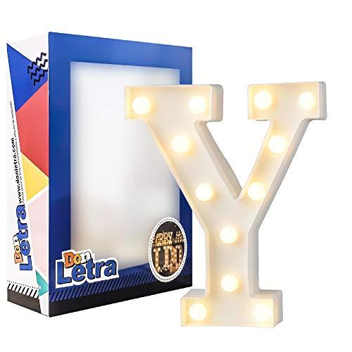 DON LETRA Letras Luminosas Decorativas con Luces LED, Letras del Alfabeto A-Z, Altura de 22cm, Color Blanco - Letra Y