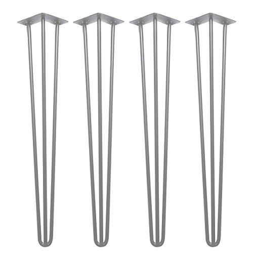 Hairpin Legs Tischbeine Metalltischbeine 71cm Silber, 4er Set Tischkufen Haarnadelbeine Tischgestell 12mm Stahl Hairpins für Schreibtisch, Esstisch, Arbeitstisch