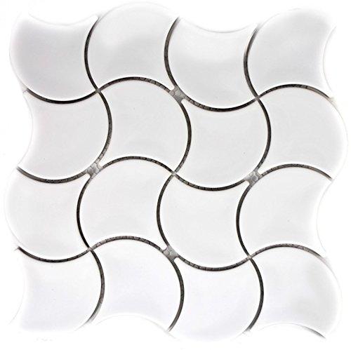 tessere di mosaico in ceramica scomparti, colore: bianco lucido onda per parete bagno doccia cucina Piastrelle Specchio theken travestimento badewannen travestimento mosaico Matte mosaico Piastra