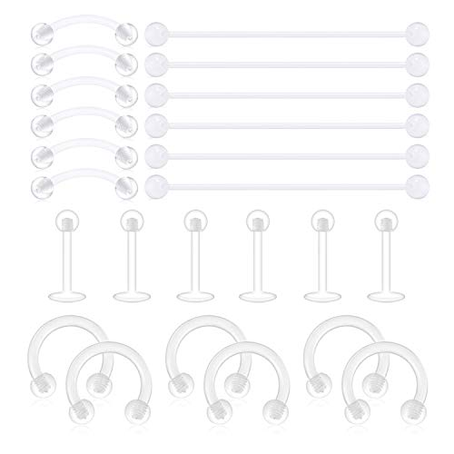 Incaton Cartilage Bioflex Flexible Ohrpiercing Retainer 24stk Acrylic Lippenpiercing Augenbrauen Piercing Helix Hoop Tragus Septum Hufeisen Rings Piercing Schmuck